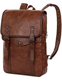 Men Vintage PU Leather Backpack Laptop Backpack School Bookbag for Men