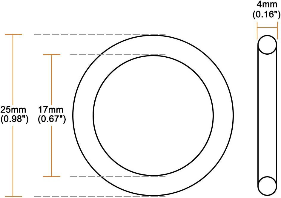 junta de sello redondo Sourcingmap junta t/órica de goma de nitrilo 25 mm de di/ámetro exterior 17 mm de di/ámetro interior paquete de 5 4 mm de ancho