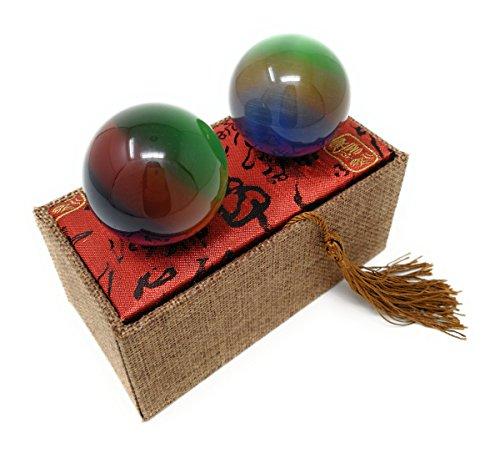 Artificial Tiger Eye Crystal Gemstone Quartz Chinese Health Stress Exercise Baoding Balls (Channel Set Rainbow Gem)