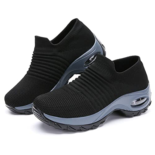 cf0ff8ff42e17 JoyRing Women Slip On Breathe Mesh Walking Shoes Fashion Sneakers Comfort  Wedge Platform Loafers
