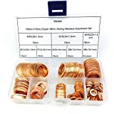 Vmotor 8 Sizes Copper Metric Sealing Washers Assortment Set 140Pcs