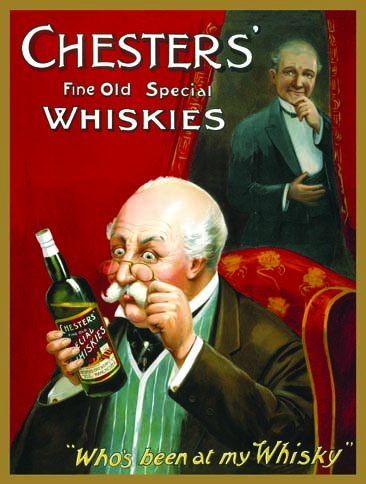 Original metals signs - Chesters Fine Old Whiskies - 15x20cm
