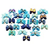 PET SHOW Mixed Styles Pet Cat Puppy Topknot Small Dog Hair Bows With Rubber Bands Grooming Accessories Blue Pack of 20