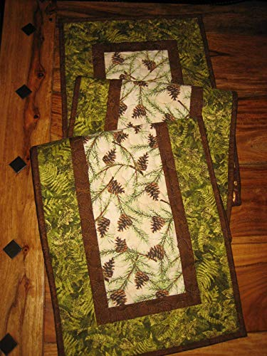 Quilted Table Runner Pine Cones and Leaves 13x70 in. Reversible, Cotton