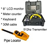 Pipe locator camera 512hz transmitter sewer pipe inspection camera 30m drain camera with video counter
