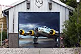 Banner for Door Single Garage Door Covers Airplane 3D Effect Print Decor Garage Plane Full Color Billboard Mural Made in the USA Size 83 x 96 inches DAV159