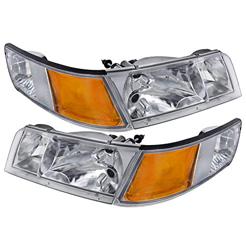 - Carpartsinnovate For 98-02 Mercury Grand Marquis Chrome Crystal Headlights+Clear Corner Signal Lamp