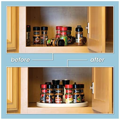 Kitchen Homeries Lazy Susan Turntable (12 Inches) – Single Round Rotating Kitchen Spice Organizer for Cabinets, Pantry, Bathroom… lazy susans