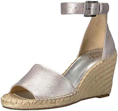 (Vince Camuto Women's Leera Espadrille Wedge Sandal Metal Silver 5.5 Medium US)
