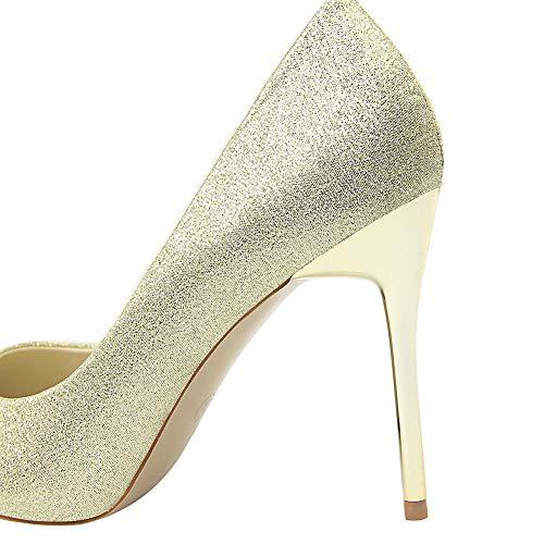 9e8cb9c1f51e Bout Wealsex Chaussure Haut Femmes Or Talons Dorées Taille Pointu Soirée  Talon Elégant Aiguilles Grande Mariage ...