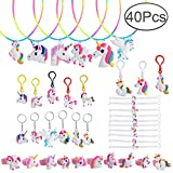 Defrsk 40 Pcs Unicorn Party Supplies Unicorn Rings Necklaces Bracelets Keychain Party Game Gift Toys for Kids