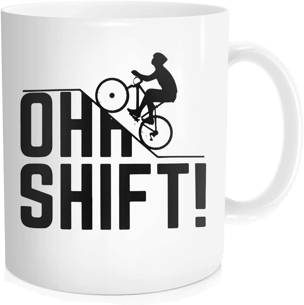 Waldeal Oh Shift Cycling Coffee Mug Mountain Biker Funny Uphill Cyclist Gift For Biking Rider Bike Lover White Bone Ceramic 11 Oz Kitchen Dining