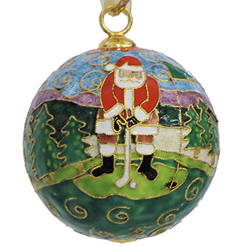 Golf with Santa Cloisonne Christmas Ornament - Kitty Cloisonne