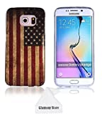 Samsung Galaxy S6 Edge Case,Retro Vintage Old United States American U.S.A. Flag Rubber TPU Skin Gel Silicone Soft Case Cover For Samsung Galaxy S6 Edge With a Free Cleaning Cloth As a Gift