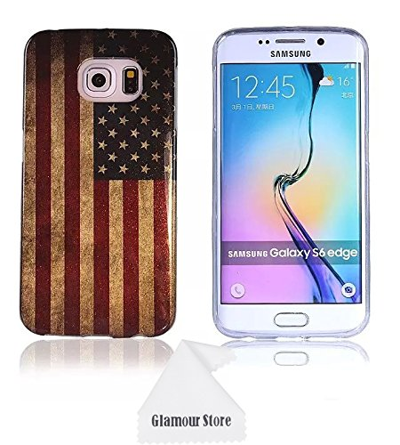 Mobile Edge Element (Samsung Galaxy S6 Edge Case,Retro Vintage Old United States American U.S.A. Flag Rubber TPU Skin Gel Silicone Soft Case Cover For Samsung Galaxy S6 Edge With a Free Cleaning Cloth As a Gift)