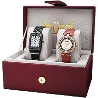 Burgi Women's BUR178RG-S Diamond and Crystal Accented Bracelet & Satin Strap 2 Watch Box Set
