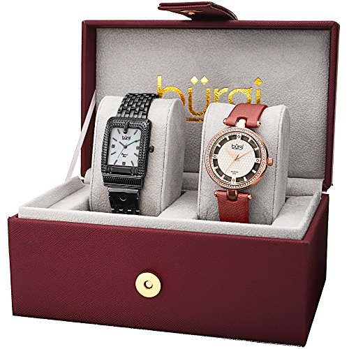 Burgi Women's BUR178 Diamond and Crystal Accented Bracelet & Satin Strap 2 Watch Box Set (Black & ()