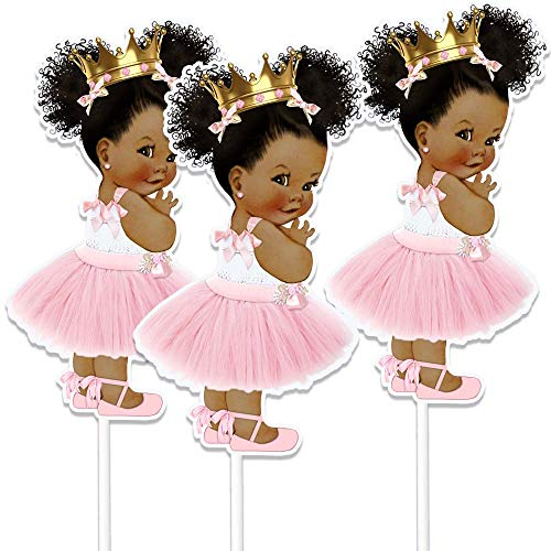 Little Princess Table Decoration Centerpieces, Set of 3 African American Princess Royal Birthday Cake -