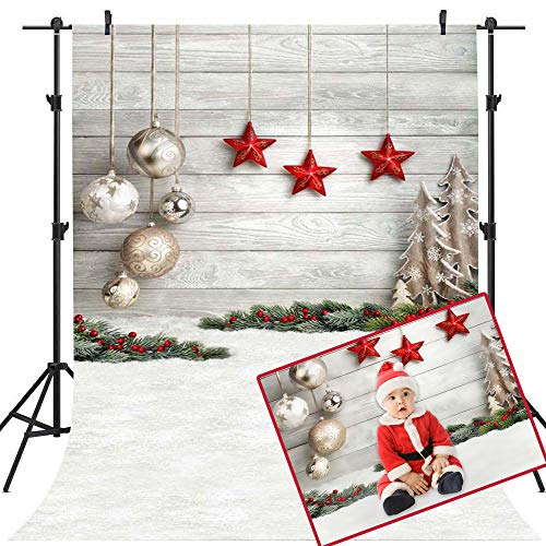 Mocsicka Happy New Year Backdrop 5x7ft Xmas Party Winter Snow Ground Photography Background White Christmas Balls Red Stars Decoration Backdrop Christmas Eve Photo Studio Prop ()