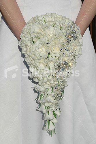 Bouquet Da Sposa A Cascata.Silk Blooms Ltd Spilla A Cascata Lungo Vero Tocco Rosa E Bianco