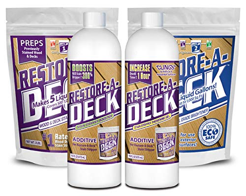 (Restore-A-Deck Stain Stripper, Wood Brightener, Booster, Thickening Gel Combo Pack)