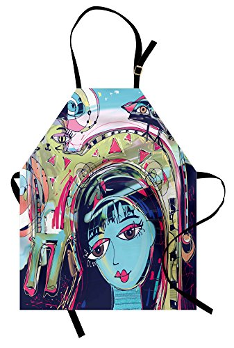 Ambesonne Modern Art Apron, Funk Style Avatar Woman with Cat on Her Head Graffiti Unusual Human Humor Art, Unisex Kitchen Bib Apron with Adjustable Neck for Cooking Baking Gardening, Blue Pink