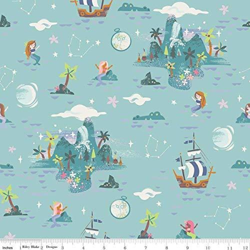 Neverland Island Mint Peter Pan - Riley Blake Cotton Fabric
