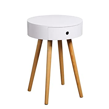 Hervorragend LongYu Weiß Holz Side End Tisch Nachttisch Mit Schublade Massivholz Beine Wohnzimmer  Möbel
