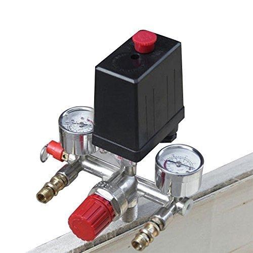 Enshey Air Compressor Pressure Control Switch Valve Manifold Regulator w/ Gauges (Control Air Regulators)