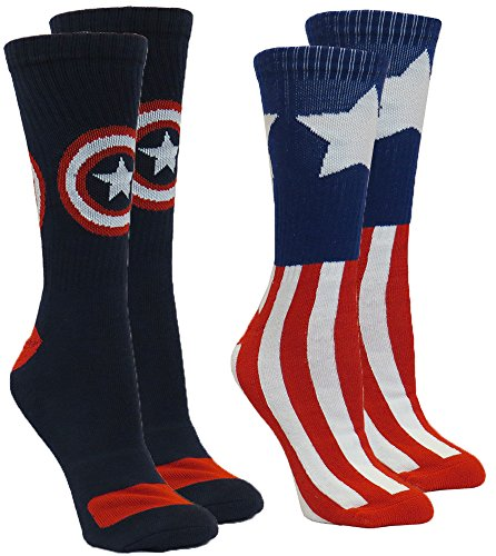Marvel-Captain-America-Mens-Athletic-Crew-Socks-2-Pair-Pack-Sock-Size-10-13-Shoe-Size-6-12