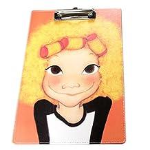 Faux Leather Fashion Writing Board Orange Girl Recipes/Paper Files Folder OFFICE