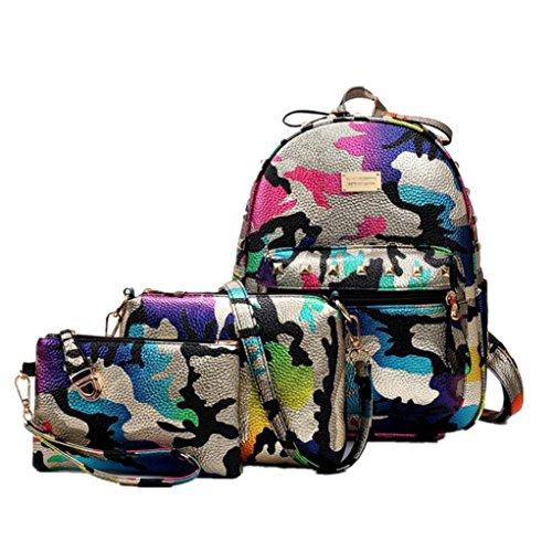 Celendi Girls' PU Leather Camouflage Printed School Backpack Set 3 Pieces Shoulder Bag Handbag (Light Purple) ()