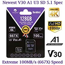 MicroSD Micro SD Card Plus Adapter. 128GB 128 GB MicroSDXC SDXC Class 10 Memory. U3 A1 V30 Extreme Pro Ultra High Speed UHS-I UHS-1 Amplim TF XC Card Pack for Phone, Switch, Galaxy, Fire, Gopro