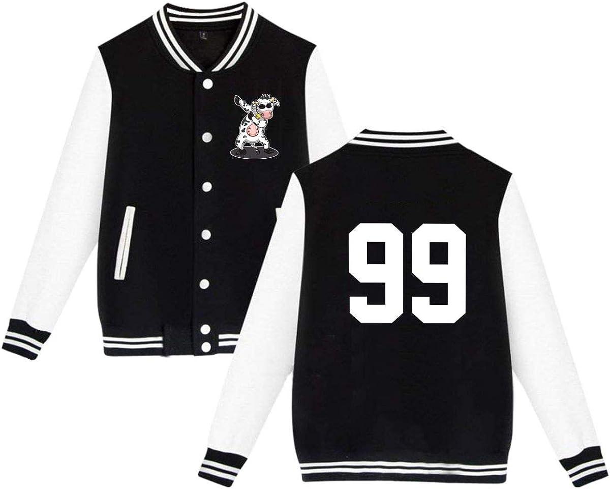 Dabbing Dancing Cow Funny Unisex Baseball Jacket Coat Slim Varsity Sweatshirt Coat