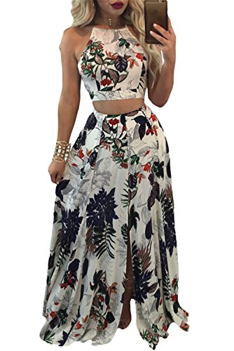 Sexy 2 Piece Halter (Women Sexy Two Pieces Halter Spaghetti Strap Sleeveless Floral Crop Top & High Split Maxi Skirt Set Party Clubwear)