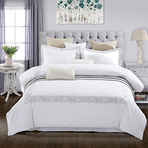 Superior 200 Thread Count 100% Cotton Embroidered Cal King Duvet Cover Set Moonlawn, King/California King,