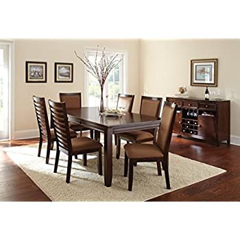 b820b69a583fd Amazon.com - Louise Rectangular Dining Table with 18-inch Leaf Black ...