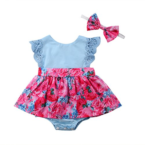 - Big Little Sister Floral Matching Clothing Lace Ruffle Sleeve Romper Dress Outfit Clothes (6-12 Months, Little Sister Dress)