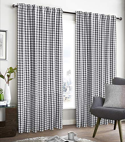 Cotton Curtains in Gingham Plaid Check Fabric 50x108 Charcoal ,Farm House Curtains,Cotton Curtains,2 Panels Curtain, Tab Top curtains,Curtains Set of 2,Curtain Drapes Panels,Darkening window curtain