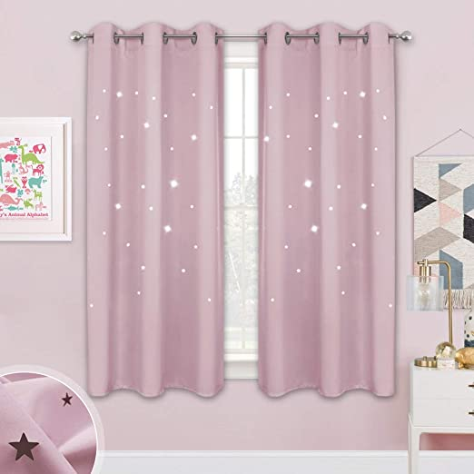 Stars Blackout Curtains Double Layer Stripe Window Curtains for Kids Girls Bedroom Living Room Nishore Colorful Star Curtains