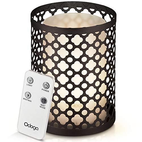 Odoga Aromatherapy Essential Oil Diffuser with Decorative Iron Cover, 100 ml Ultrasonic Quiet Cool Mist Humidifier with Warm White Color Candle Light Effect, Remote Control & Low Water Auto - Cover Diffuser