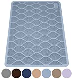 MIGHTY MONKEY Premium Cat Litter Trapping Mats, Phthalate Free, Best Scatter Control, Jumbo XL Sizes (35″ x 23″), Mat Traps Litter, Easy to Clean, Soft on Kitty Paws (Light Blue) For Sale