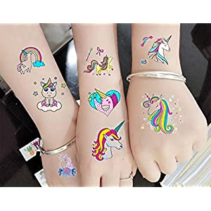 M.owstoni Unicorn Party Supplies Tattoos for Kids – 70 Glitter Styles Unicorn Party Favors and Birthday Decorations + Halloween Costume