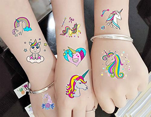 M.owstoni Unicorn Party Supplies Tattoos for Kids - 70 Glitter Styles Unicorn Party Favors and Birthday Decorations + Halloween Costume]()