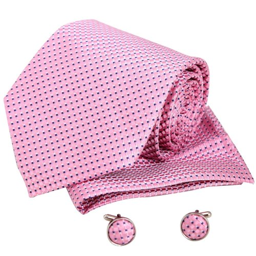Pink mens ties birthday gifts man Italian style silk neck ties cuff links hanky set H5099 (Pink & Navy Print) One Size Pink