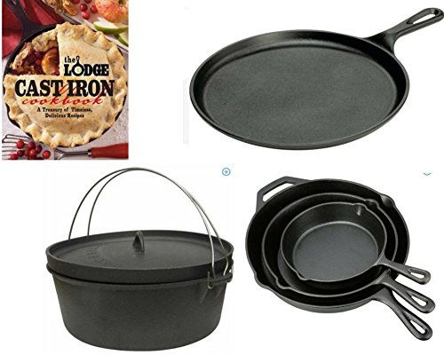 The Lodge Cast Iron Cookbook: A Delicious Recipes; Ozark Trail 3-Piece Plant Oil Cast Iron Skillet; Stansport Cast Iron 2-Quart Dutch Oven; Lodge Logic 10-1/2 inch Cast Iron Griddle