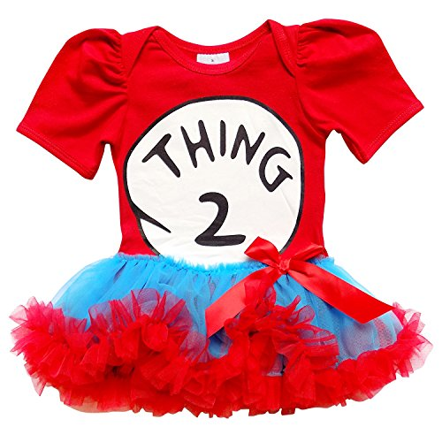 Costume 2 - So Sydney Baby Toddler Girl Thing 1 2 Tutu Chiffon Skirt Bodysuit Romper Costume (L (12-18 Months), New Thing TWO)