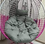 D&LE Swing chair Cushion Round Single Hanging basket chair Seat cushion Removable Cleaning Cushion Courtyard Garden Rattan chair Seat pads-gray 105x105cm