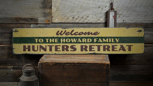 Retreat Wood Sign - The Lizton Sign Shop Hunting Retreat Wood Sign, Personalized Family Name Welcome Lodge Gift, Man Cave Decor - Rustic Hand Made Vintage Wooden Sign - 11.25 x 60 Inches