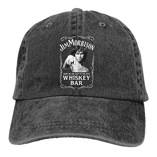 HAWNFERK Unisex Jim Morrison Show Me The Way to Next Whiskey Bar Doors Logo Casual Sunbonnet Black